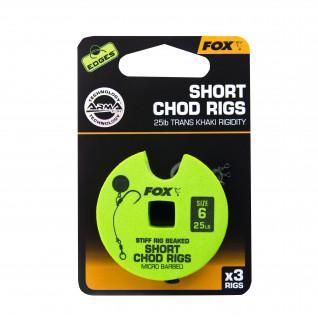 Monofilament Fox 25lb Short Chod Rig Barbed taille 6